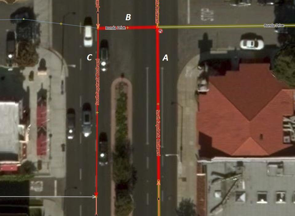 Secuencia vía (A) – vía (B) – vía (C) en una relación de restricción de giro 'no_u_turn'.